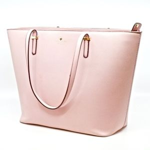 KATE SPADE~xl leather tote~ZIP TOP~BLUSH PINK